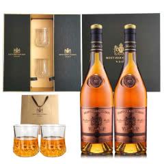 法国原瓶进口雅旭堡蒙博纳VSOP特选白兰地700ml洋酒礼盒两支装