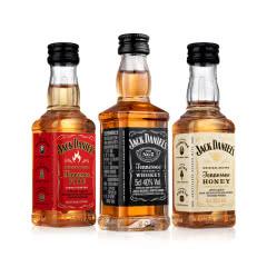 【组合装】杰克丹尼黑标蜂蜜火焰威士忌力娇酒小酒版50ml*3