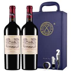 拉斐香榭城堡干红葡萄酒法国进口红酒AOP级双支红酒礼盒装 750ml*2