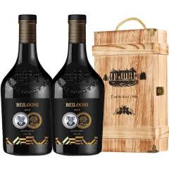 澳大利亚原装原瓶进口红酒 13.5度西拉干红葡萄750ml双支木箱礼盒装