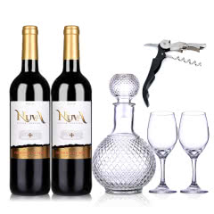 西班牙诺爱德金标干红葡萄酒750ml (双支装)+酒具套装