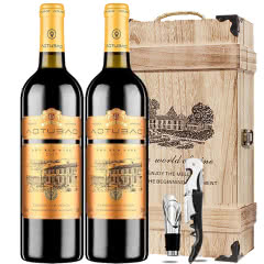 法国原酒进口红酒 12.5度干红葡萄酒750ml双支木箱礼盒装