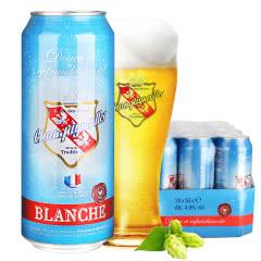 新品推荐法国进口啤酒法盾浪漫果香白啤I酒500ML(24听装)