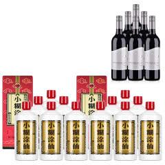 52°小糊涂仙500ml*12+澳大利亚红酒小海龟西拉红葡萄酒750ml*6