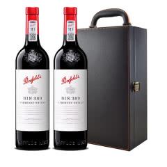 奔富389木塞 澳洲原瓶进口红酒bin389赤霞珠设拉子红葡萄酒750ml*2双支礼盒装