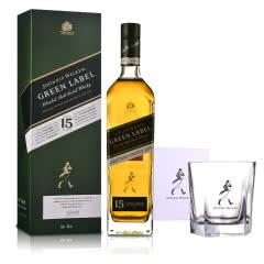 43°英国尊尼获加绿牌(绿方)15年调配麦芽苏格兰威士忌 750ml+五角杯266ml