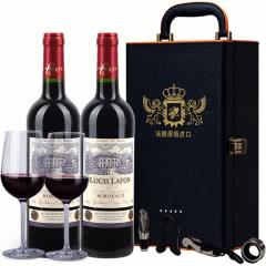 法国原瓶进口红酒 路易拉菲典藏干红葡萄酒2支礼盒装正品送礼两瓶