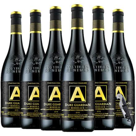 法国(原瓶原装)进口红酒AOP/AOC波尔多法定产区公爵守护者干红葡萄酒750ml*6
