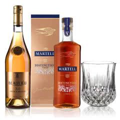 40°法国马爹利鼎盛干邑白兰地500ml+40°法国法圣古堡公爵XO白兰地700ml+钻石威士忌杯