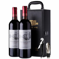 法国原瓶进口红酒 罗蒂庄园 AOC级 纳菲尔干红葡萄酒礼盒装750ml*2 皮质礼盒