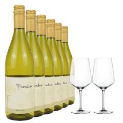 13度智利原瓶进口干白葡萄酒整箱6支装 弗朗霞多丽莎当妮原装正品