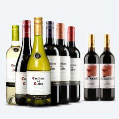 智利原瓶进口红酒 螺旋盖 干露红魔鬼葡萄酒 年份随机 6种口味组合装 750ml(6瓶装)