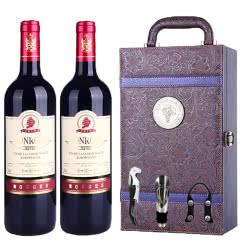 法国进口红酒宾露酒庄红钻干红葡萄酒凤尾礼盒装750ml*2