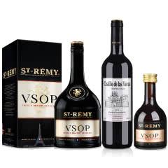 40°法国圣雷米VSOP白兰地700ml*1+西班牙(原瓶进口)莫拉斯城堡干红葡萄酒750ml