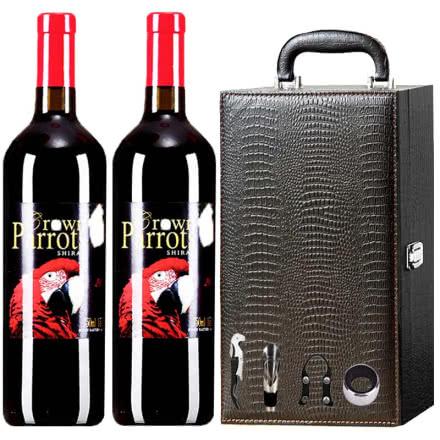 澳洲原瓶进口皇冠鹦鹉.红金刚西拉干红葡萄酒鳄鱼礼盒装750ml*2