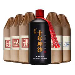 53°煮仙 十年坤沙酒 酱香型白酒 贵州茅台镇 纯粮食高粱酒 固态老酒 整箱500ml*6