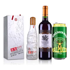 52°密鉴(鉴赏·艺术)500ml 五粮液股份有限公司出品+法国梦特骑士红葡萄酒750ml+ 公鹿王德式小麦精酿啤酒500ml