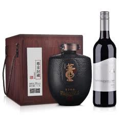 54°董酒尊享封藏大坛1500ml+澳大利亚原瓶进口红酒小海龟西拉红葡萄酒750ml