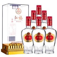 【下单送红酒】52°五粮液生态酿酒公司出品红福精品浓香型白酒礼盒500ml*6