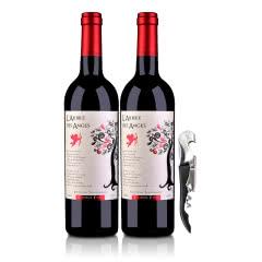 【包邮】法国(原瓶进口)法圣古堡天使树干红葡萄酒750ml*2+嘉年华黑珍珠海马酒刀