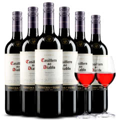 智利原瓶进口红酒 干露红魔鬼梅洛干红葡萄酒 750ml*6 整箱