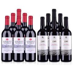 澳洲红酒澳大利亚奔富洛神山庄设拉子赤霞珠红葡萄酒750ml*6+西班牙欧瑞安门萨古藤干红葡萄酒750ml*6