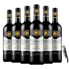 法国红酒(原瓶进口)波尔多AOC级法定产区德拉菲尔美乐干红葡萄酒750ml*6