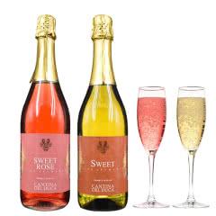 意大利原瓶进口起泡酒缇纳女士甜酒桃红气泡白葡萄小甜水送香槟杯