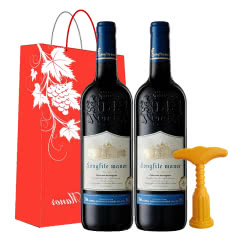 法国原酒进口红酒 珍藏橡木桶赤霞珠干红葡萄酒 750ml*2瓶礼盒