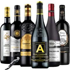 法国原瓶进口红酒波尔多AOC/AOP干红葡萄酒750ml*6(红酒套装)