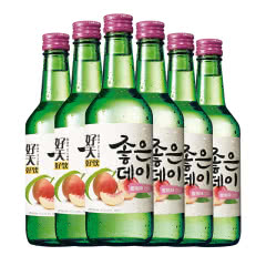 韩国清酒烧酒 好天好饮水果味洋酒 原瓶原装进口配制酒 蜜桃味360ml*6瓶