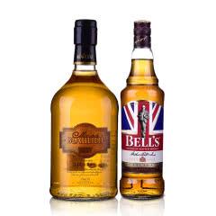 40°英国金铃喜乐致醇调配苏格兰威士忌700ml+37.5°法圣古堡公爵金朗姆酒700ml