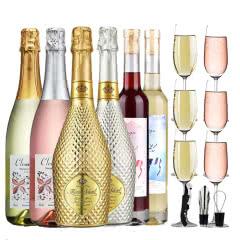 【送6个香槟杯】红酒白起泡酒半甜型气泡酒女士葡萄酒果酒冰酒网红鸡尾酒整箱不同口味