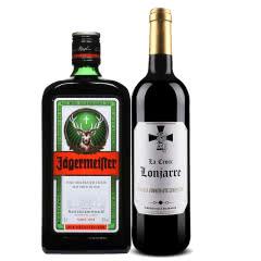 德国进口 野格酒 野格利口酒700ml 法国红酒精品红酒 龙门十字750ml 套装酒