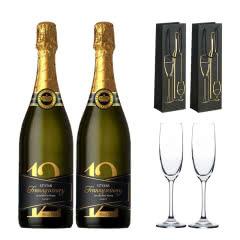 十二星品低度甜酒甜型起泡酒葡萄酒香槟气泡酒750ml*2(香槟杯酒具+手提礼袋套装)