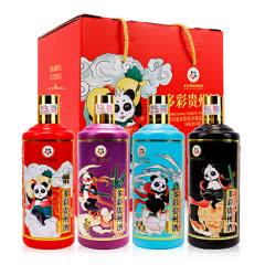 53°多彩贵州酱香型白酒熊猫壹号500ml*4瓶整箱装