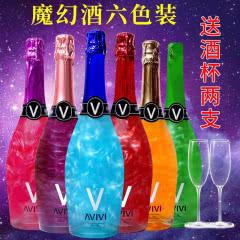 起泡酒女士香槟酒大瓶葡萄酒果酒水果味气泡酒750ml*6瓶装送两个香槟杯