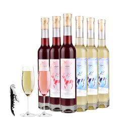 【送2个香槟杯】红酒冰酒白起泡甜型水果气泡酒少女士葡萄酒果酒375ml*6支