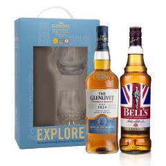 40°英国格兰威特单一麦芽苏格兰威士忌创始人甄选系列700ml单支礼盒(内含酒杯*2)+40°英国金铃喜乐致醇调配苏格兰威士忌700ml