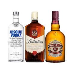 40°芝华士12年威士忌1L+40°百龄坛特醇威士忌1L+40°绝对瑞典伏特加1L