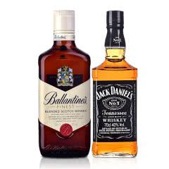 40°美国杰克丹尼700ml Jack Daniels+40°英国百龄坛特醇苏格兰威士忌500ml
