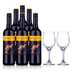 澳大利亚黄尾袋鼠西拉红葡萄酒750ml*6+双支酒杯