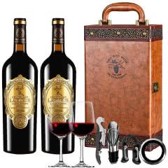 法国进口红酒拉斐天使庄园金标干红葡萄酒750ml*2瓶两支咖色礼盒装